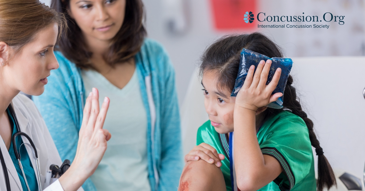 Girl counting doctor's fingers after head injury
